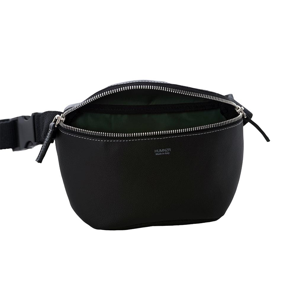 Black Vegan Leather Waist Bag Handmade in Italy HUMNZR